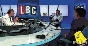 Nigel Farage, Andy Wigmore, and Arron Banks in the LBC studio