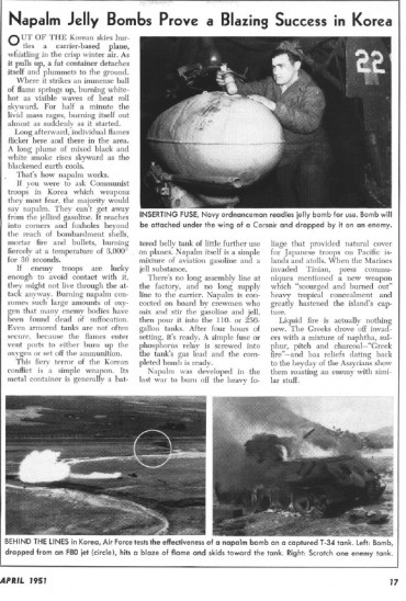 Napalm Jelly bombs prove a blazing success in Korea April 1951 page 17