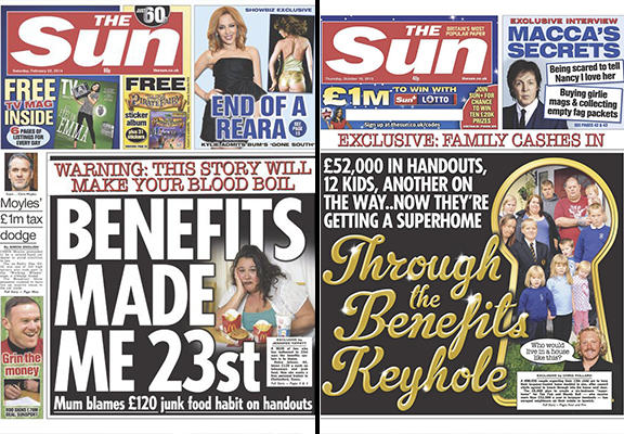 The Sun benefits scrounger headlines