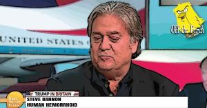 Steve Bannon on television. He's described as a 'human hemerrhoid'