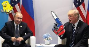 Trump meeting Putin. Putin is smiling and Trump has a foam finger with the Russian flag on it