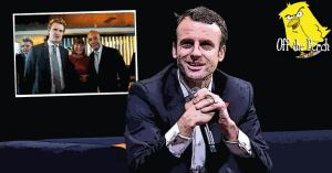 President Macron smiling with some Labour centrists behind him