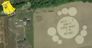"Crop circle with a message that reads ""HELP! I DON'T KNOW WHAT I'M DOING!"""