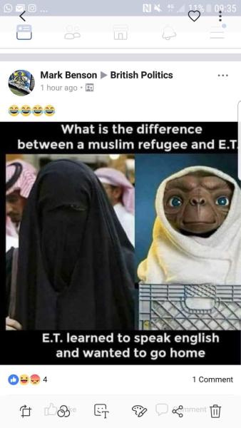 Anti-Muslim post on British Politics Page