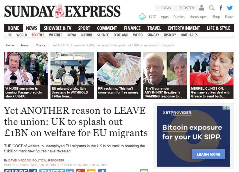 Sunday Express EU migrants headline