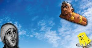 Man looking up at the Sadiq Khan balloon