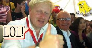 A drunk-looking Boris Johnson giving a thumbs up with Rupert Murdoch