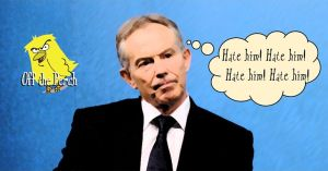 """Tony Blair with thought bubble: """"Hate him! Hate him! Hate him! Hate him!"""""""