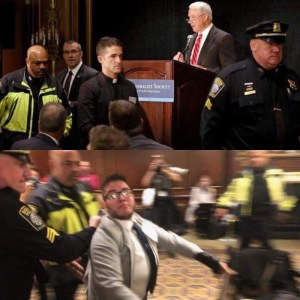 Pastor escorted out (top) Cox dragged out (bottom)