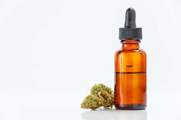HD close up of cannabis bud and CBD oil tincture.