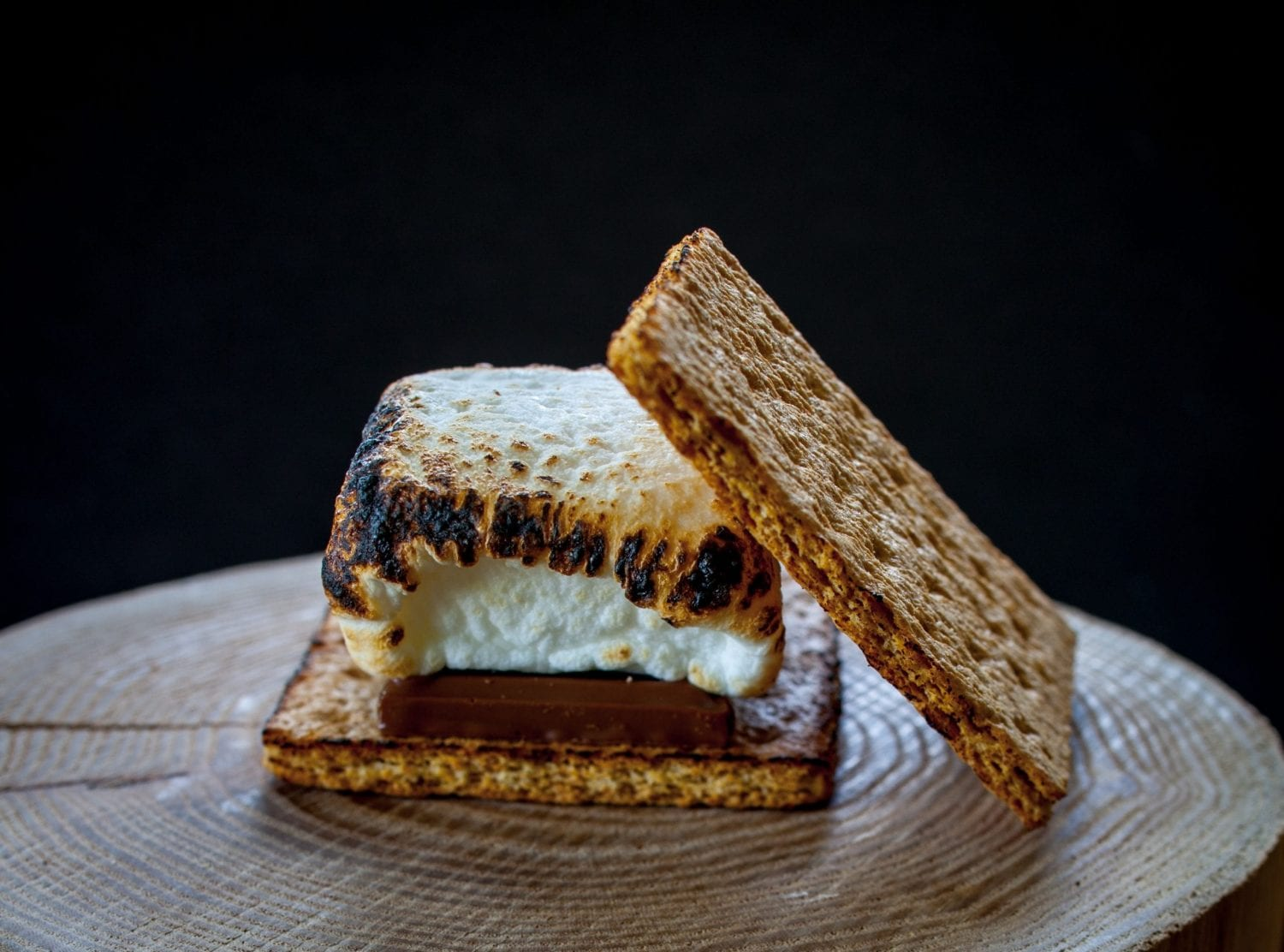 One pot smore on a log with a black background