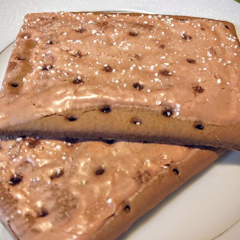chocolate cannabis infused pop tarts on a white plate