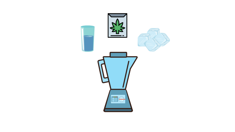 a cartoon design that includes a blender, ice cubes, frozen cannabis