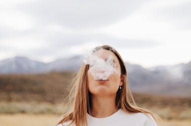 Woman smoking CBD