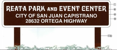 The entrance of the Reata Park and Event Center will feature at 24-by-8 sandblasted wood sign with the city's name in white lettering, similar to the signs at other city parks. Courtesy of the city of San Juan Capistrano
