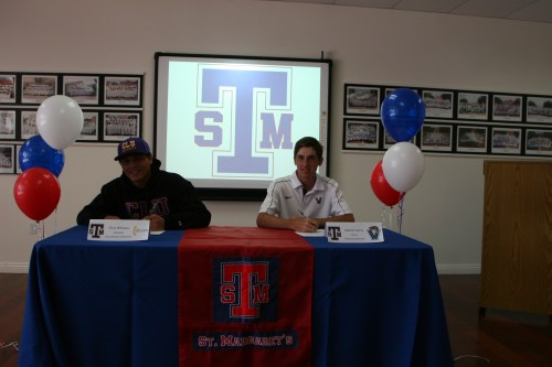 St. Margaret's senior student athletes Chaz Williams, left, and Alastair Hurry sign their National Letter of Intent. Courtesy photo