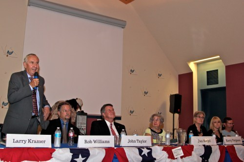 Seven of the eight candidates for San Juan Capistrano City Council met with residents during a forum Wednesday night. Photo: Brian Park