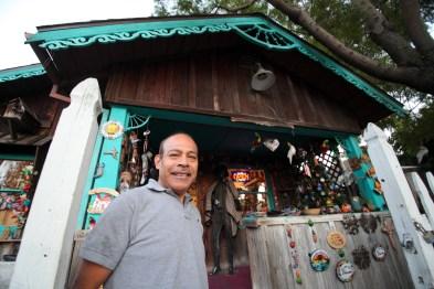 Luis Santiago in front of his shop, Las Catrinas. Photo: Allison Jarrell