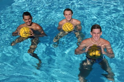 Calum Moy, left, Brett DeLorenzo, middle, and Max Miller will lead the San Juan Hills boys water polo team into the 2017 season. Photo: Steve Breazeale
