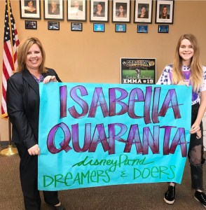 San Juan Hills High School student Isabella Quaranta (right), was named to the Disneyland Dreamers and Doers program, next to Principal Jennifer Smalley (left). Photo: Courtesy of SJHHS