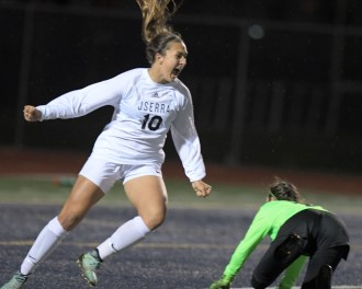 JSerra's Isabella D'Aquila celebrates her game-winning goal on a breakaway as Santa Margarita goalkeeper Kiersten Flint despairs during the second half of the CIF-SS Division 1 championship game at Warren High in Downey. Photo: Courtesy Jerry Soifer