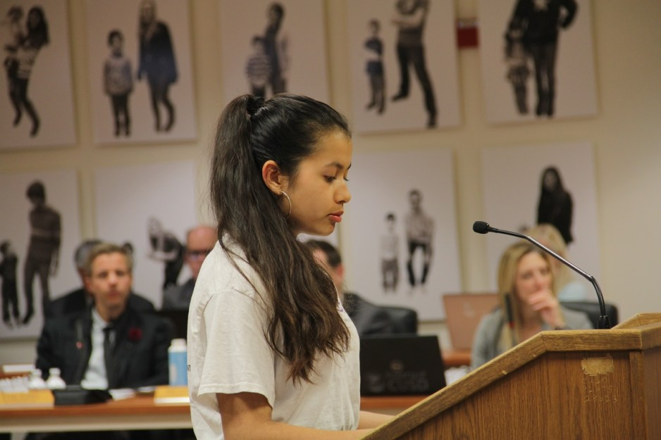 While presenting to the Capistrano Unified School District Board of Trustees on March 13, Cheyenne Torres, a San Juan Hills High School junior, encourages the district to develop more online counseling for students.  Photo: Shawn Raymundo