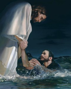 Peter Being Rescued by Christ