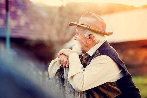 an elderly farmer thinks about how he can care for his wife