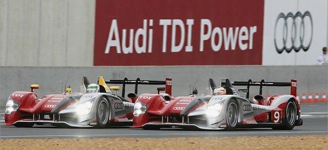 Audi R15 TDI with diesel engine winning Le Mans in 2010