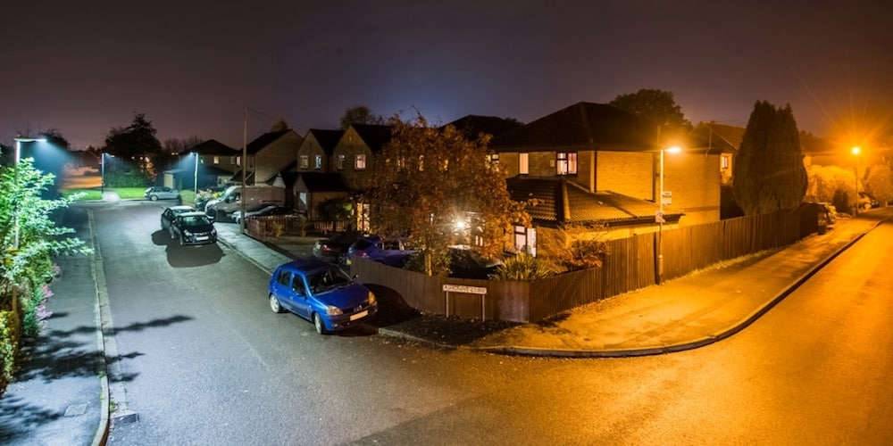 New LED and old sodium street lights in Gloucestershire