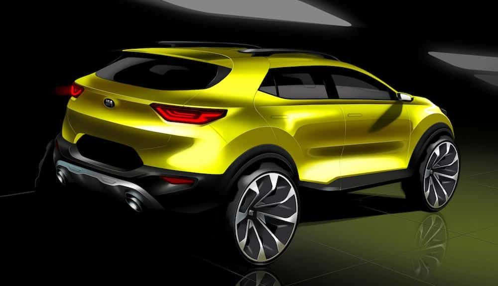 Rearview sketch of new Kia Stonic compact crossover