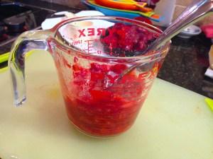 mashed strawberries