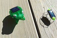 Solar robot activity uses tiny solar panels to make a frog jump and a grasshopper hop. Kids learn building from a kit, gears, and solar energy!