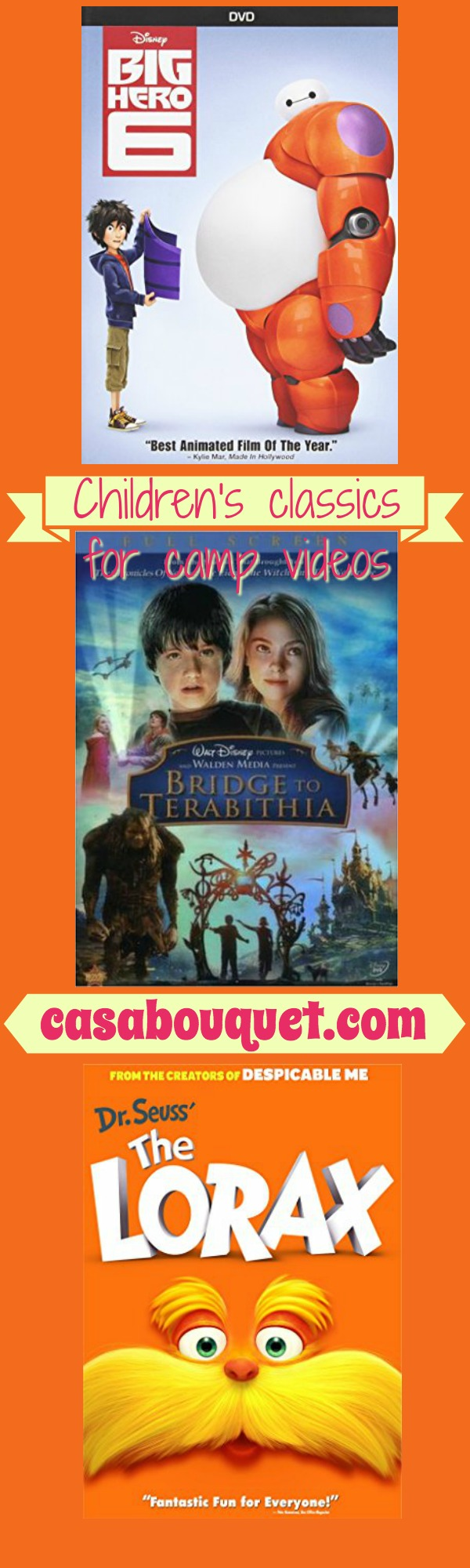 Children's classics for camp videos for middle and high school students. Resource links, how to find movies based on literature, and top camp video lists.