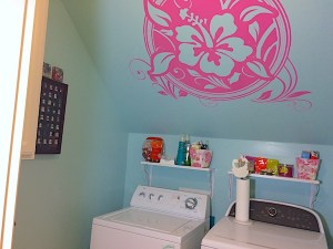 Small laundry room makeover includes organization and brightening a small space. Product tips and laundry room makeover ideas.
