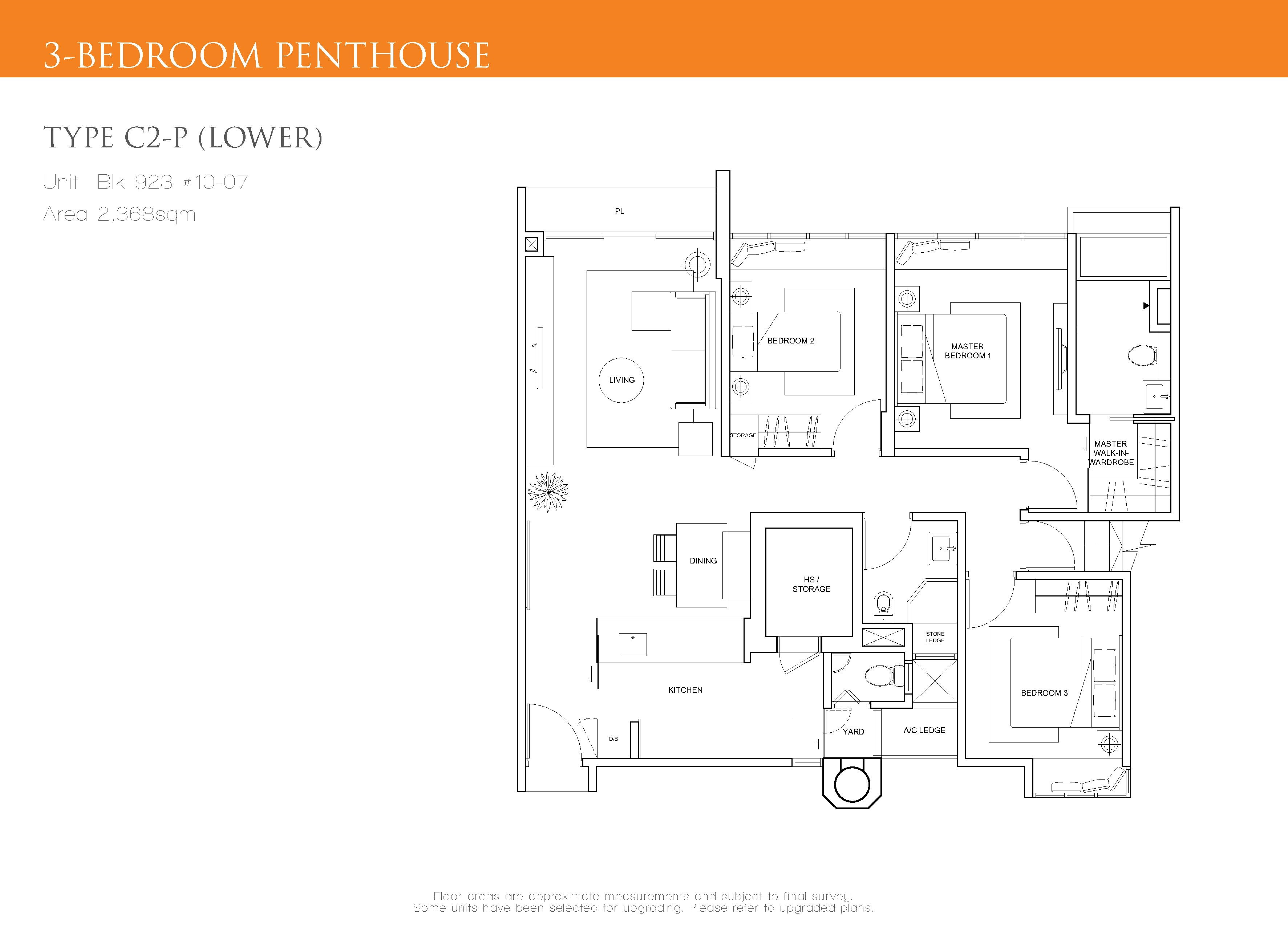 The Cascadia 3 Bedroom Penthouse Floor Plan Type C2-P(Lower)