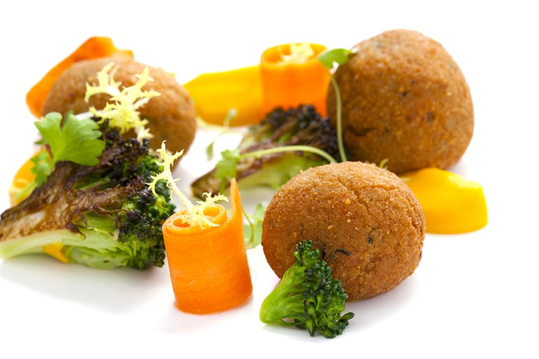 Spiced Chick Pea Fritters with Broccoli and Carrot