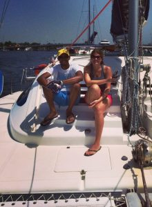 """Tomas & I aboard """"About Time"""" 37' Island Spirit May 2015."""