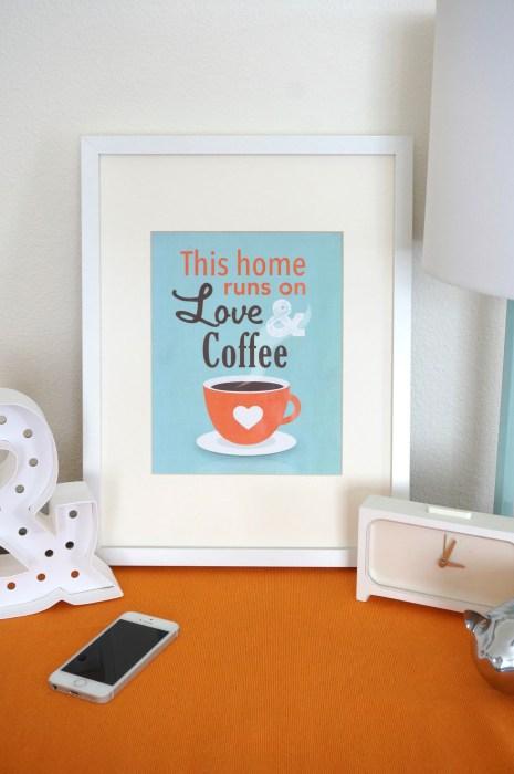 Free Printable Coffee Art Print! This home runs on love & coffee