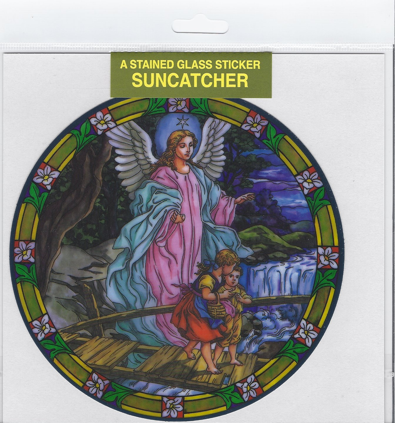 Stained Glass Static Window Cling Sun Catcher Guardian Angel