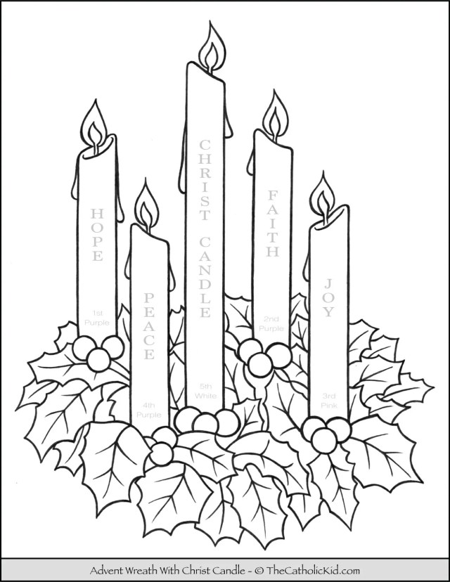 Advent Wreath Coloring Page With Candle Names & Meanings