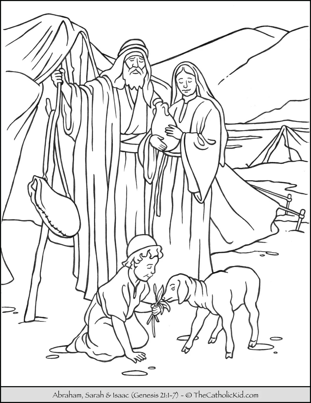 Abraham Sarah And Isaac Coloring Page
