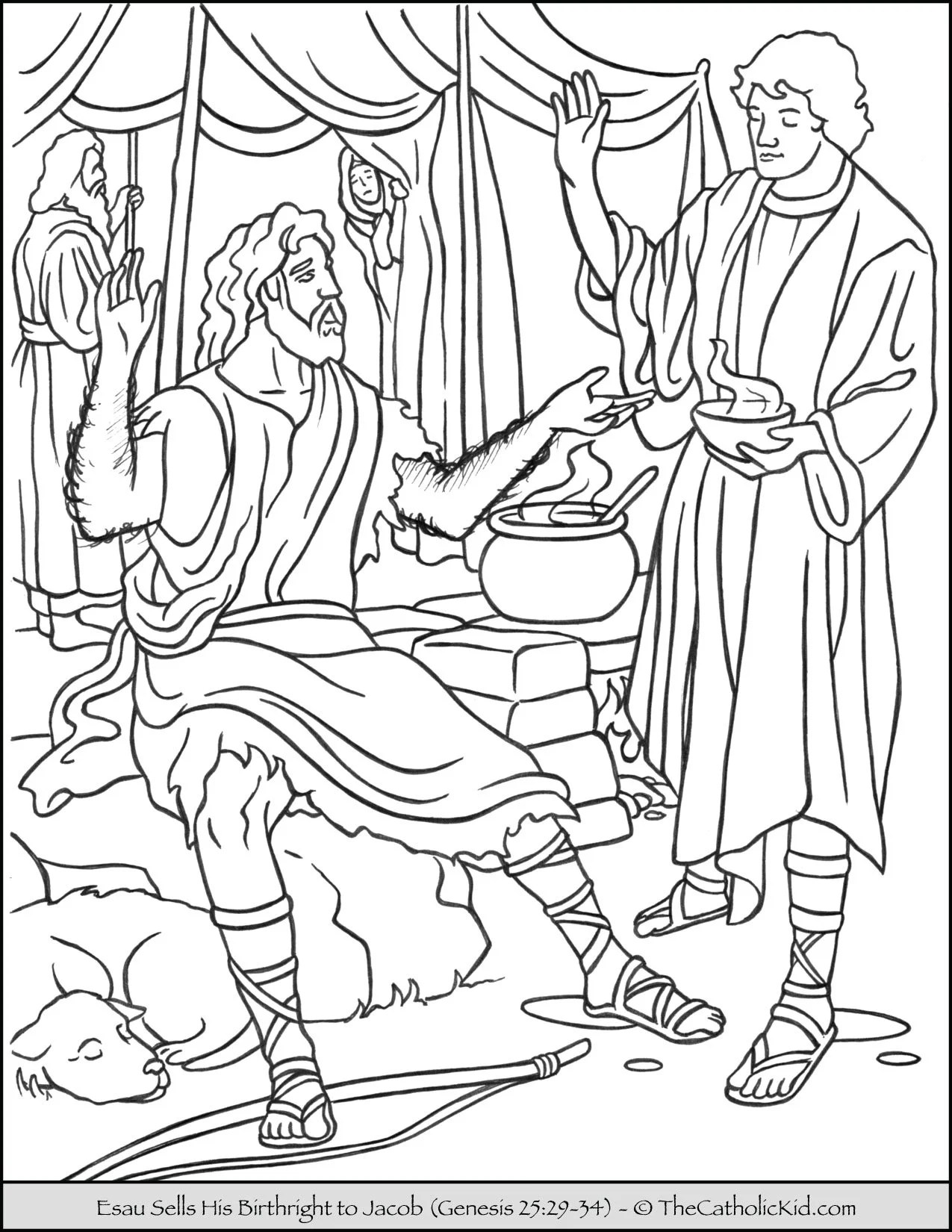 Esau Sells Birthright To Jacob Coloring Page