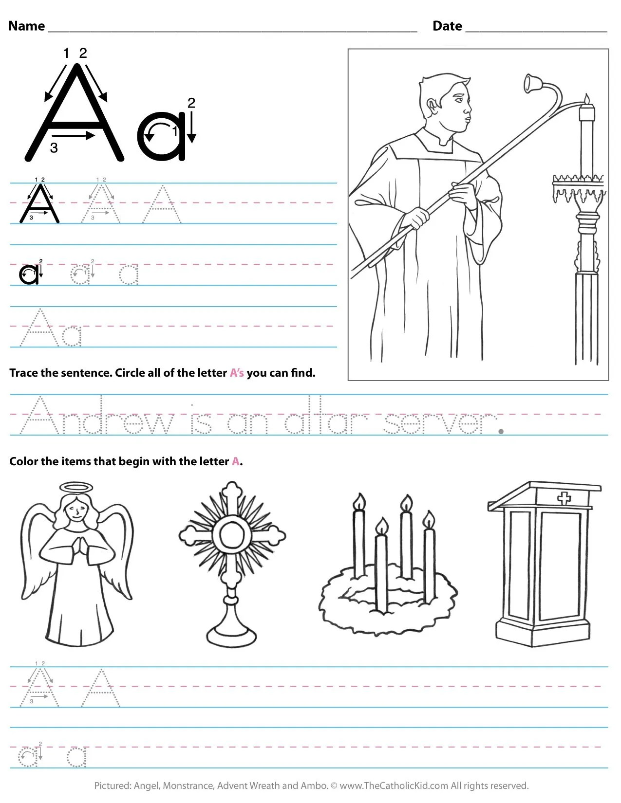Catholic Alphabet Letter A Worksheet Preschool