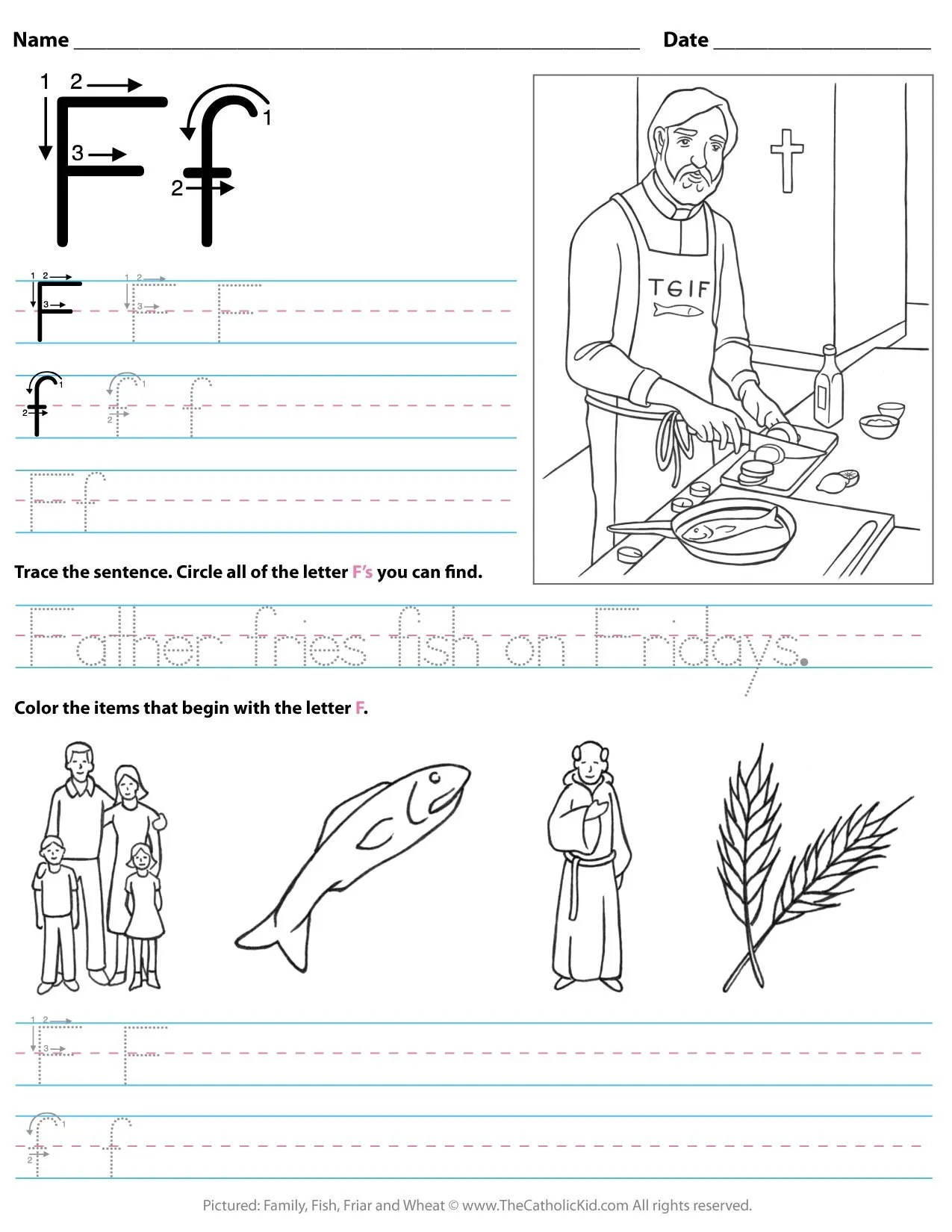 Catholic Alphabet Letter F Worksheet Preschool