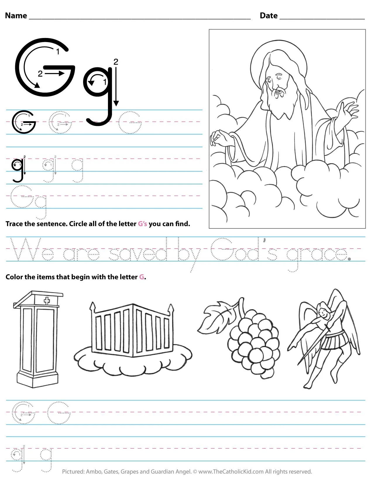 Catholic Alphabet Letter G Worksheet Preschool