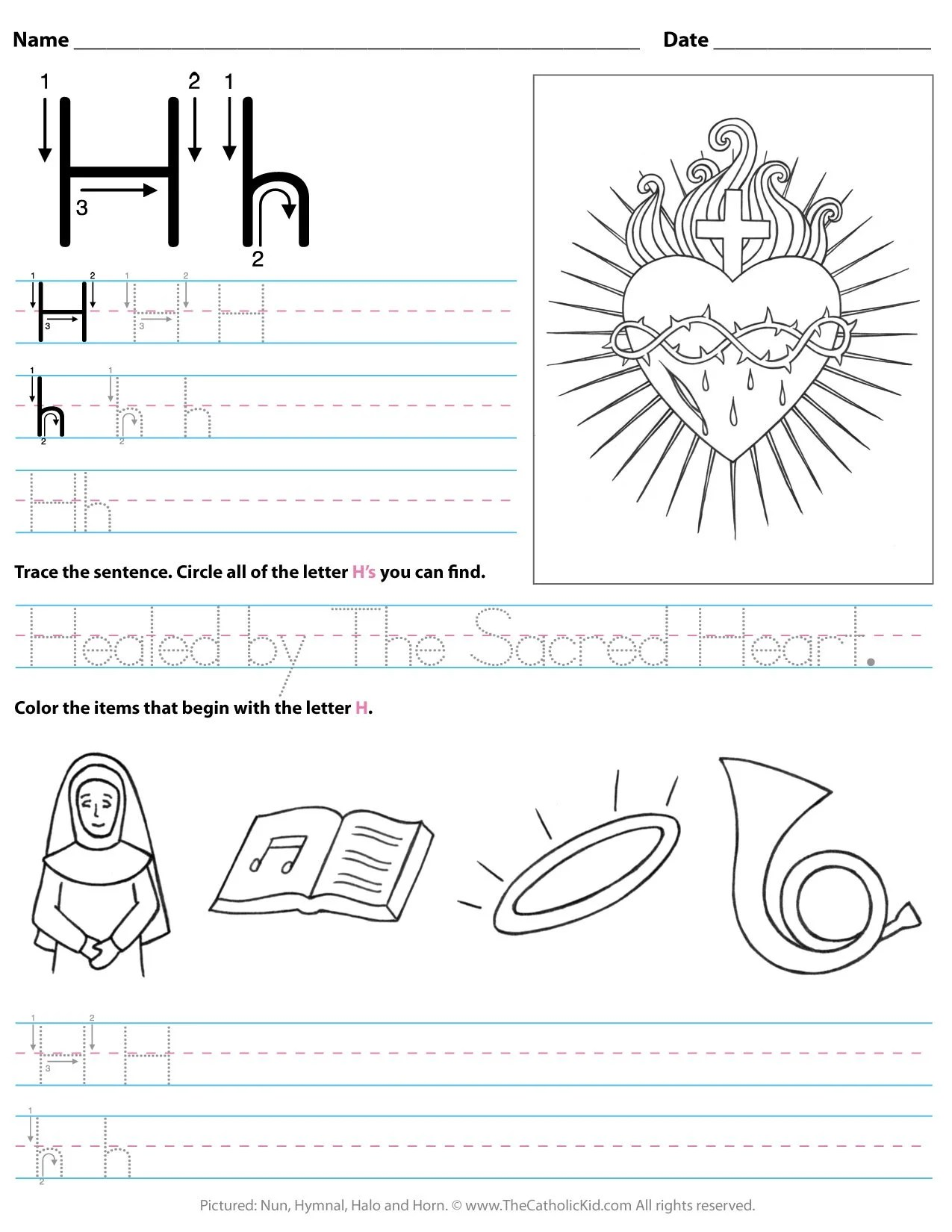 Catholic Alphabet Letter H Worksheet Preschool