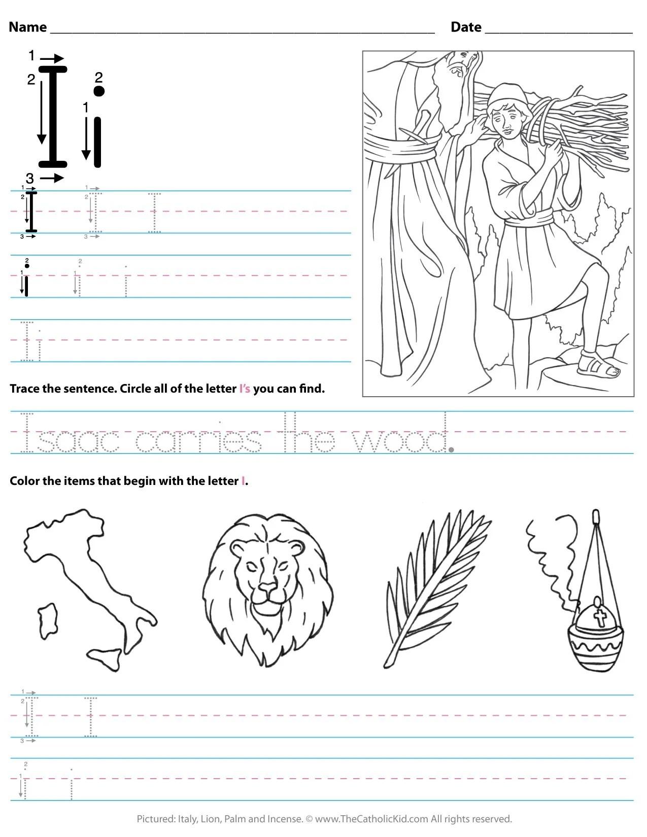 Catholic Alphabet Letter I Worksheet Preschool
