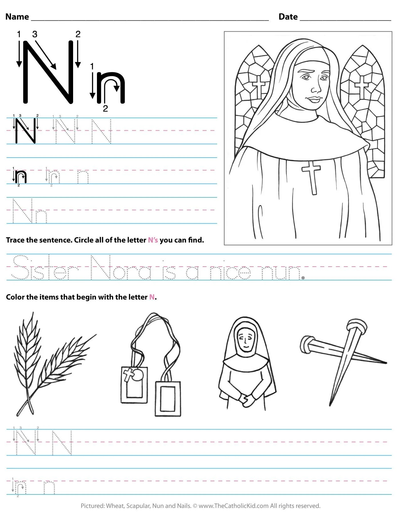 Catholic Alphabet Letter N Worksheet Preschool