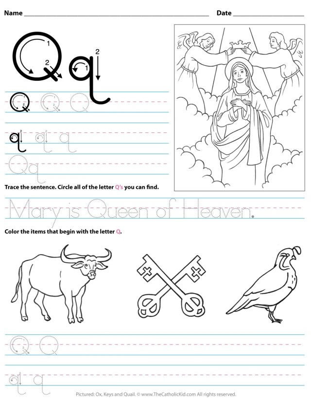 Catholic Alphabet Letter Q Worksheet